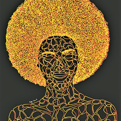 afro- Frigg Toss-galerie-chauvy-60x60cm